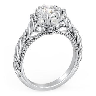 Statement Ring Vintage Engagement Ring Solitaire Diamond White Diamond Ring Diamond Engagement Vintage Diamond Ring Round Diamond