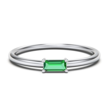 Ethically sourced peridot stacking ring  sterling silver  minimalist