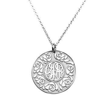 Sterling Silver Embossed Rose Stylized Monogram Pendant by JEWLR