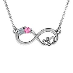 Sterling Silver Soul Mates Infinity Birthstone Pendant with Personalized Birthstones by JEWLR